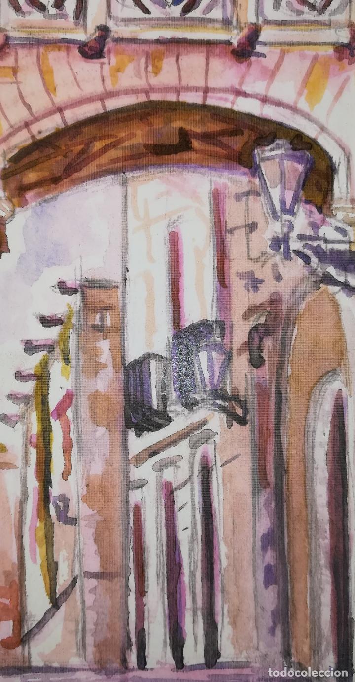 Arte: GRABADO ARCO ANTIGUO Y BALCÓN SOBRE LA CALLE DEL BISBE 2. STEVE. BARCELONA 2011 - Foto 2 - 183369263