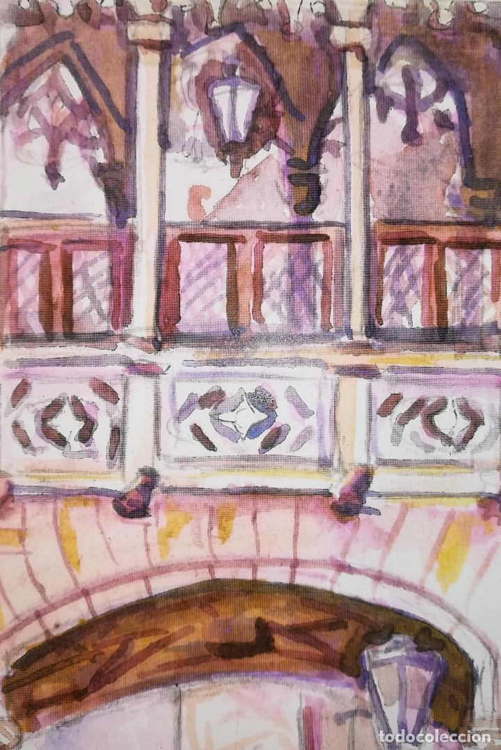 Arte: GRABADO ARCO ANTIGUO Y BALCÓN SOBRE LA CALLE DEL BISBE 2. STEVE. BARCELONA 2011 - Foto 3 - 183369263