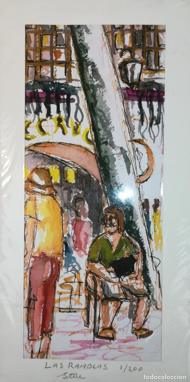 LAS RAMBLAS. GRABADO 1/200. STEVE. BARCELONA 2011 (Arte - Arte Religioso - Grabados)