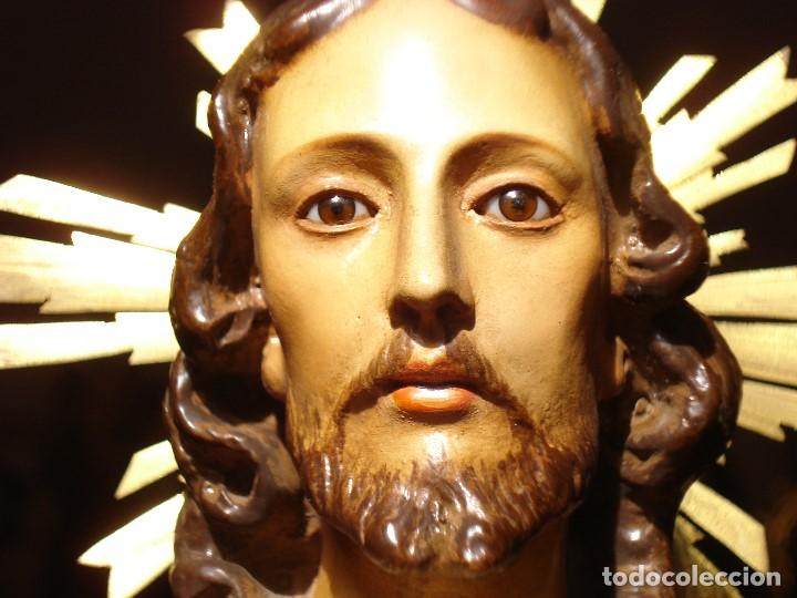 Arte: CRISTO REY EL ARTE CRISTIANO SAGRADO CORAZÓN DE JESUS PASTA DE MADERA - Foto 3 - 183377855