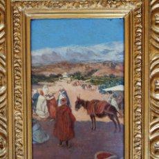 Arte: OLEO REPRESENTADO A ÁRABES EN EL DESIERTO. Lote 183379493