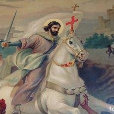 Arte: BONITO CUADRO MADERA DE CAOBA IMAGEN DE SANTIAGO APOSTOL EN LA BATALLA DE CLAVIJO 86,3 X 66,3. Lote 183388396