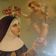 Arte: CUADRO DE MADERA DE CAOBA BONITA IMAGEN DE SANTA ROSA DE LIMA SOSTENIENDO AL NIÑO JESUS 86,3 X 66,3. Lote 183389028