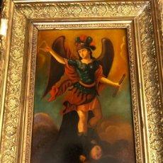 Arte: SAN MIGUEL, OLEO SOBRE COBRE, ESCUELA COLONIAL. Lote 183403918
