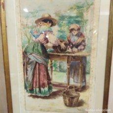 Arte: PAREJA DE ACUARELAS COSTUMBRISTAS DE 1913, DE AUTOR RECONOCIDO . Lote 183423746