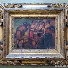 Arte: OLEO SOBRE TABLA DE METAL MUY ANTIGUA CLAVADA SOBRE MADERA. Lote 183431860