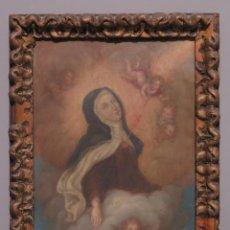 Arte: PRECIOSO EXTASIS O TRANSVERBERACION DE SANTA TERESA. OLEO S/ COBRE. SIGLO XVII. Lote 183440716