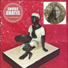Arte: ESCULTURA ETNICA EN BRONCE *PERSONAJE AFRICANO* - BASE DE CERAMICA EXTRUSIONADA.. Lote 183532652