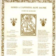 Arte: GOIGS A L'APÒSTOL SANT JAUME, PATRÓ DE QUERALBS (S. F.). Lote 183550608