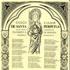 Arte: GOIGS A LLAOR SE SANTA PERPÈTUA DE MOGODA - DÍPTIC (S. F.). Lote 183553096