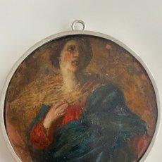 Arte: MINIATURA RELIGIOSA SOBRE COBRE Y MARCO DE PLATA , VIRGEN . Lote 183563680