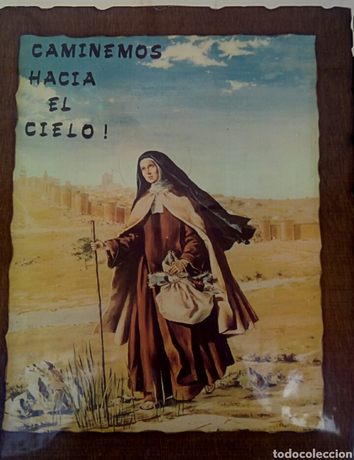 Arte: SANTA TERESA DE JESUS - TRIPTICO RELIGIOSO SOBRE MADERA - AÑOS 1940 - Foto 2 - 183569022