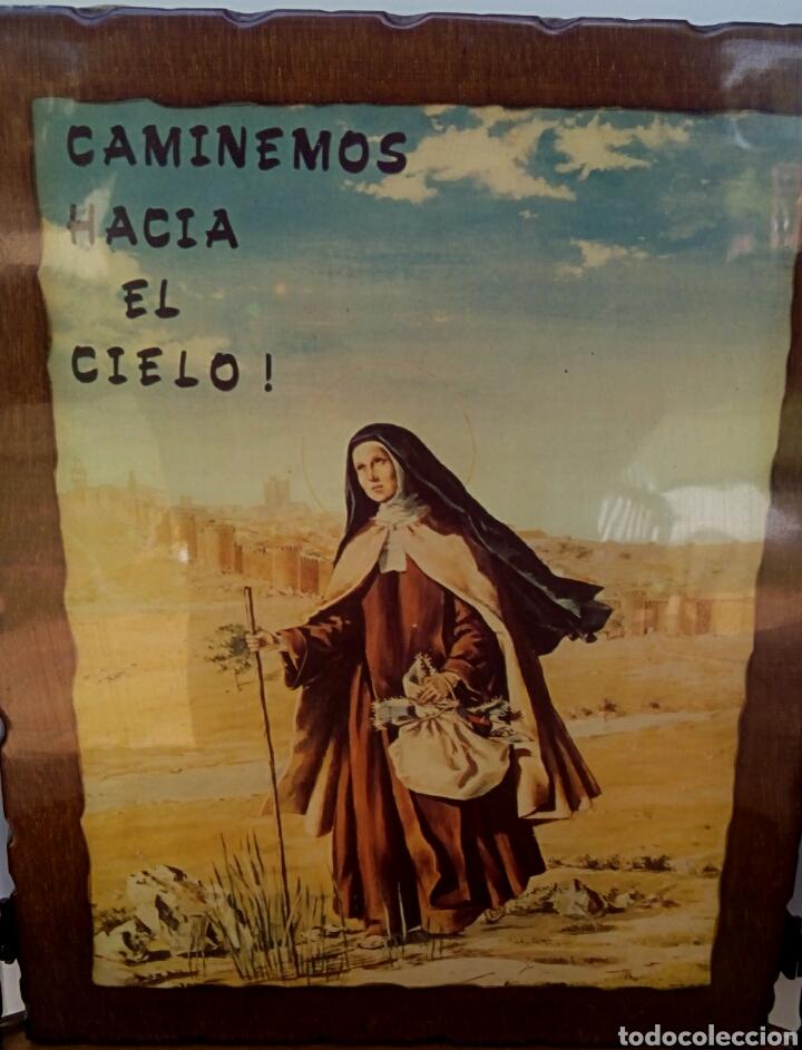Arte: SANTA TERESA DE JESUS - TRIPTICO RELIGIOSO SOBRE MADERA - AÑOS 1940 - Foto 6 - 183569022