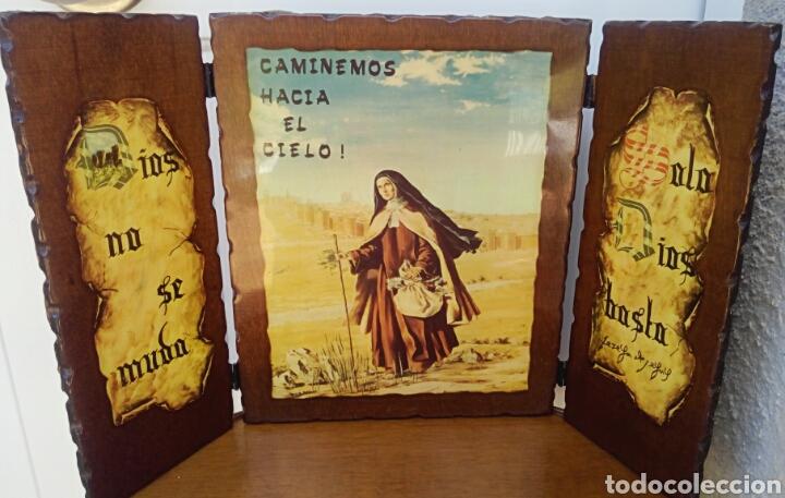 SANTA TERESA DE JESUS - TRIPTICO RELIGIOSO SOBRE MADERA - AÑOS 1940 (Arte - Arte Religioso - Trípticos)
