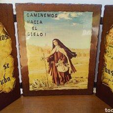 Arte: SANTA TERESA DE JESUS - TRIPTICO RELIGIOSO SOBRE MADERA - AÑOS 1940. Lote 183569022