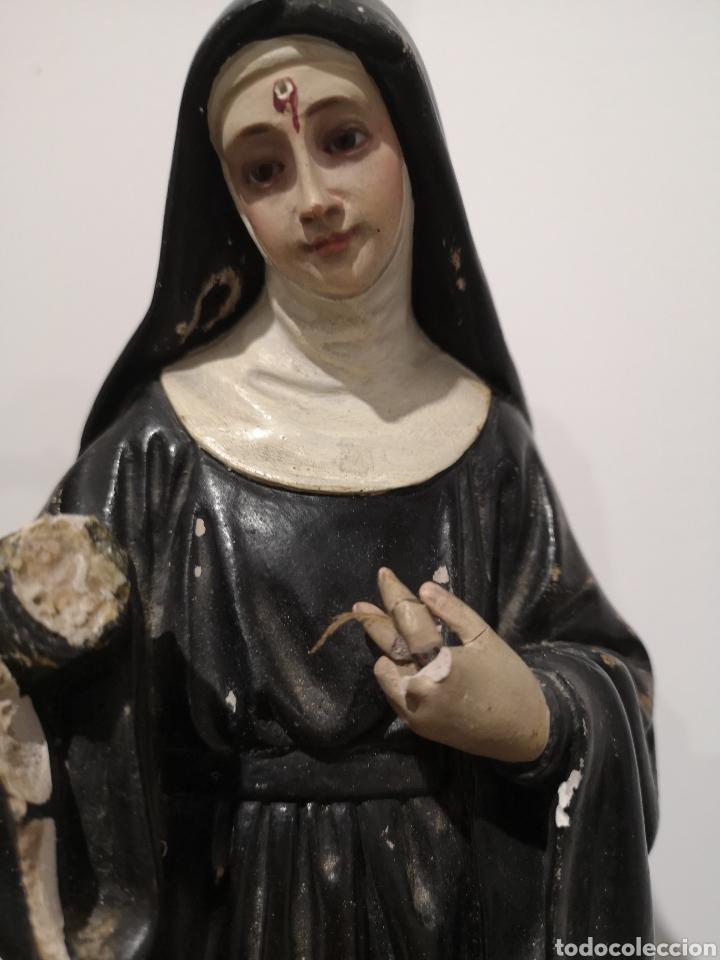 Arte: Santa Rita figura de Olot 32cm, con faltas, ver fotos - Foto 2 - 183584098