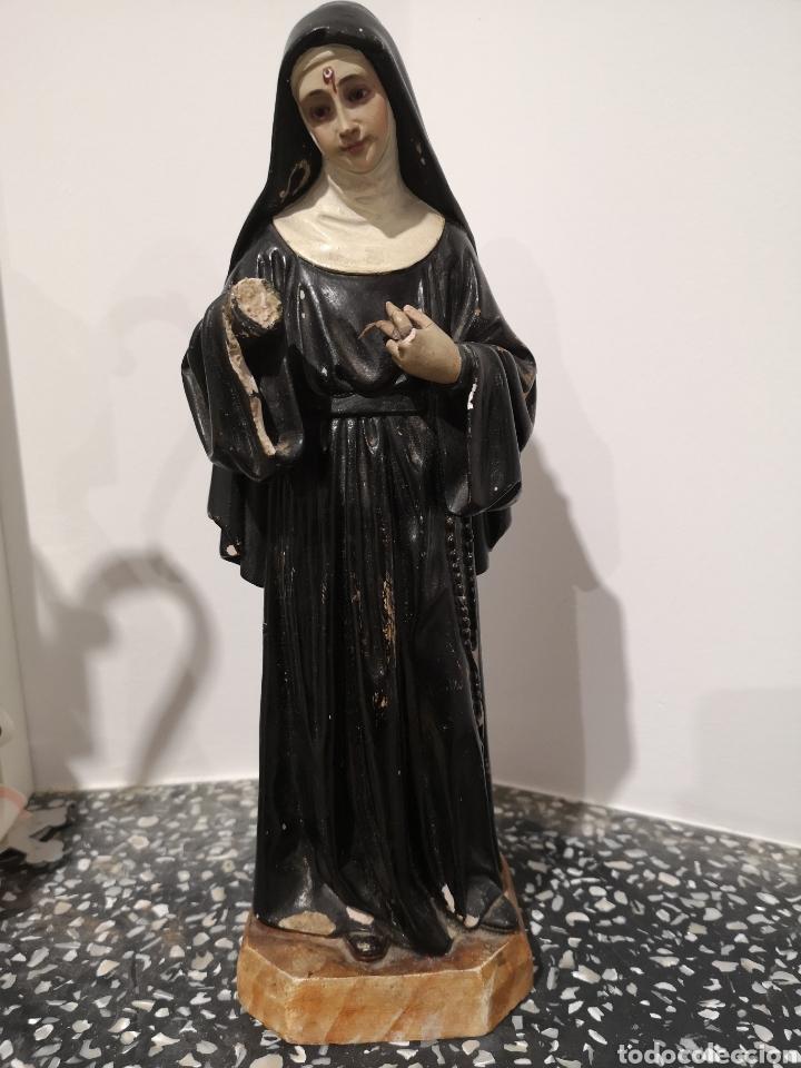 SANTA RITA FIGURA DE OLOT 32CM, CON FALTAS, VER FOTOS (Arte - Arte Religioso - Escultura)