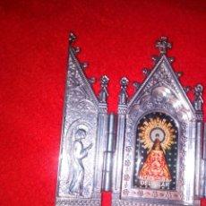 Arte: TRIPTICO RELIGIOSO DE LA VIRGEN DEL PILAR CON UN BAÑO DE PLATA.. Lote 183584700
