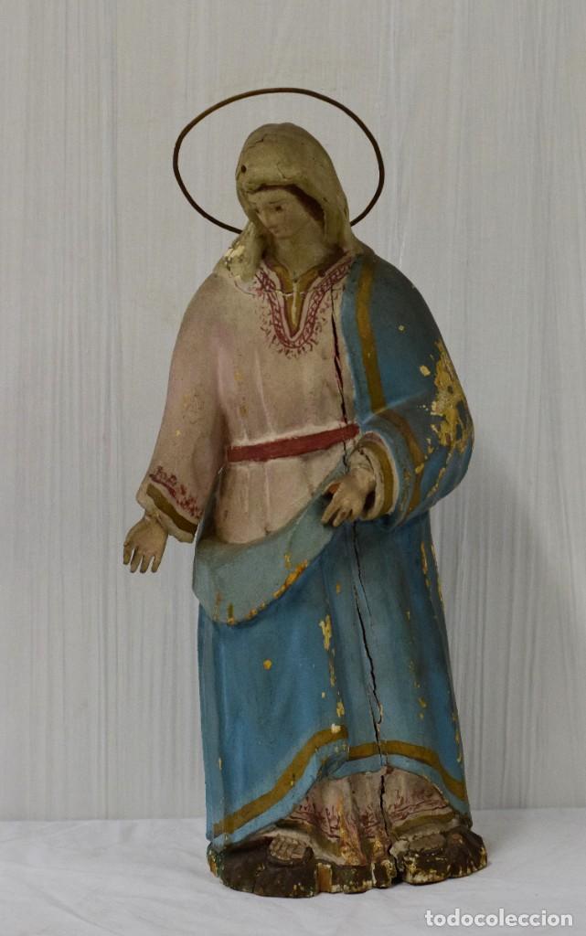 Arte: Antigua Virgen María de madera, talla policromada popular. Siglo XVIII. 50 cm de alto. - Foto 2 - 137561030
