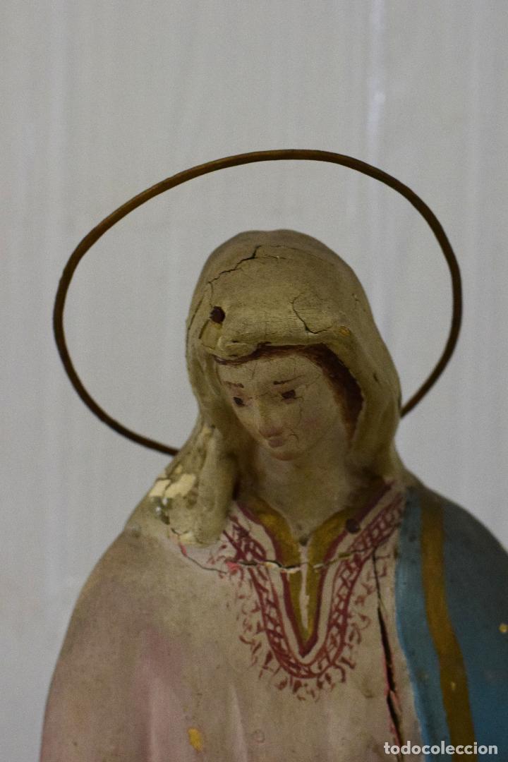 Arte: Antigua Virgen María de madera, talla policromada popular. Siglo XVIII. 50 cm de alto. - Foto 3 - 137561030