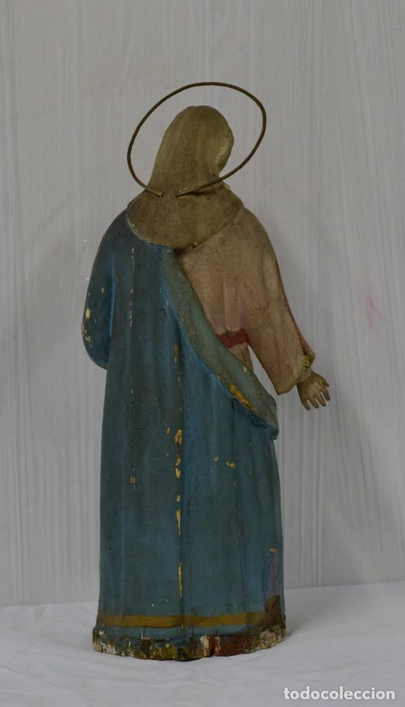 Arte: Antigua Virgen María de madera, talla policromada popular. Siglo XVIII. 50 cm de alto. - Foto 4 - 137561030
