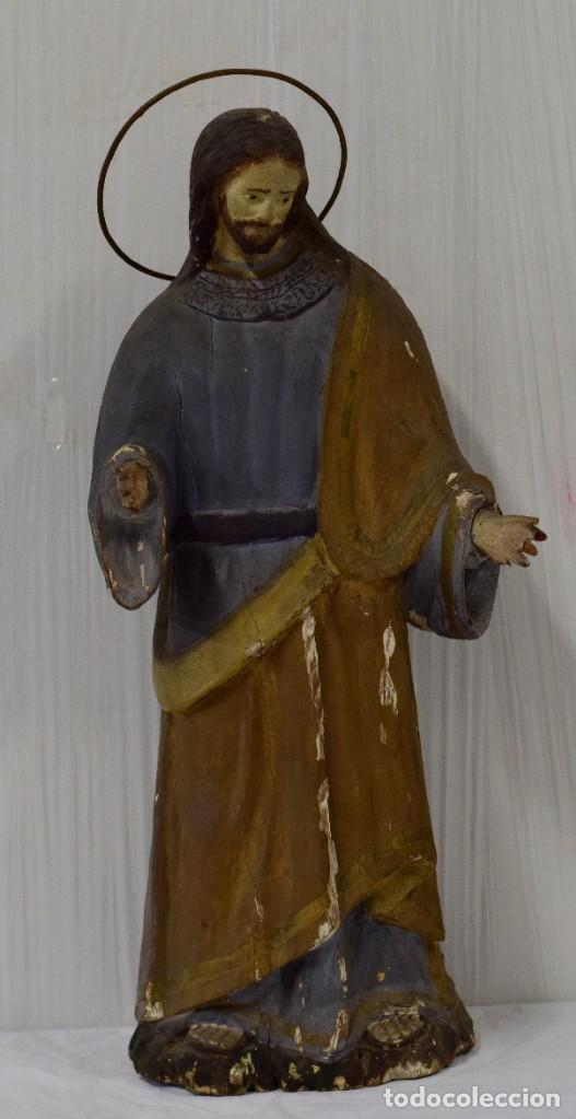 Arte: Antigua talla de madera policromada de San José del siglo XVIII con corona. 50 cm alto. - Foto 2 - 137561234