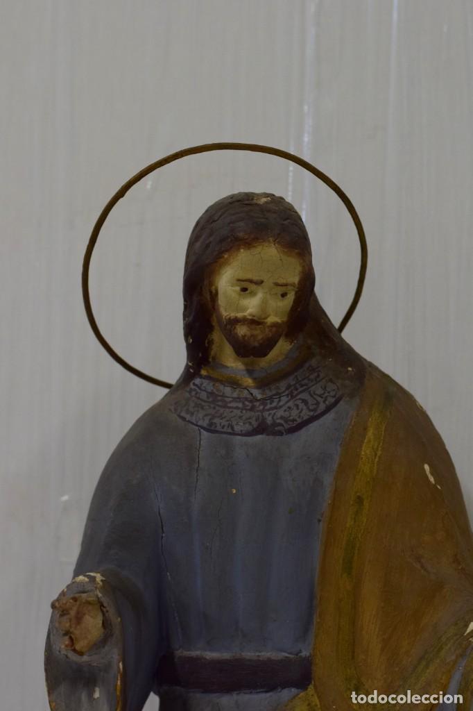 Arte: Antigua talla de madera policromada de San José del siglo XVIII con corona. 50 cm alto. - Foto 3 - 137561234
