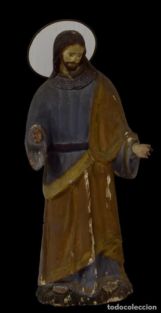 ANTIGUA TALLA DE MADERA POLICROMADA DE SAN JOSÉ DEL SIGLO XVIII CON CORONA. 50 CM ALTO. (Arte - Arte Religioso - Escultura)