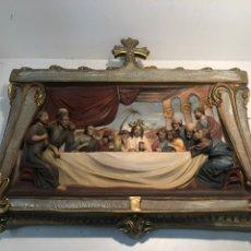 Arte: PRECIOSO RELIEVE SANTA CENA DE JESUS DE ESTUCO, MODELO OLOT.. Lote 183644733