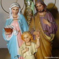 Arte: SAGRADA FAMILIA, SAN JOSÉ, LA VIRGEN Y JESÚS. ESTUCO DE OLOT. Lote 116540175