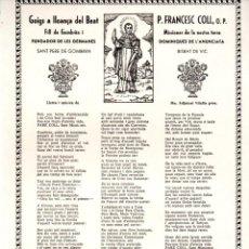 Arte: GOIGS DEL BEAT FRANCESC COLL - GOMBREN (BONET, 1979). Lote 183662678