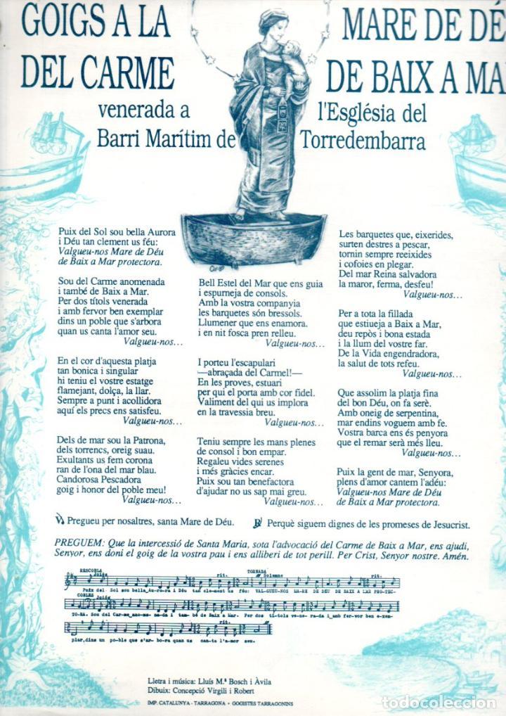 GOIGS AVE A LA MARE DE DÉU DEL CARME DE BAIX A MAR - TORREDEMBARRA (IMP. CATALUNYA, 1990) (Arte - Arte Religioso - Grabados)