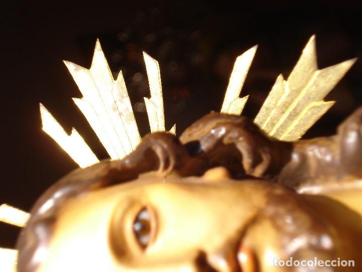 Arte: CRISTO REY EL ARTE CRISTIANO SAGRADO CORAZÓN DE JESUS PASTA DE MADERA - Foto 4 - 183377855