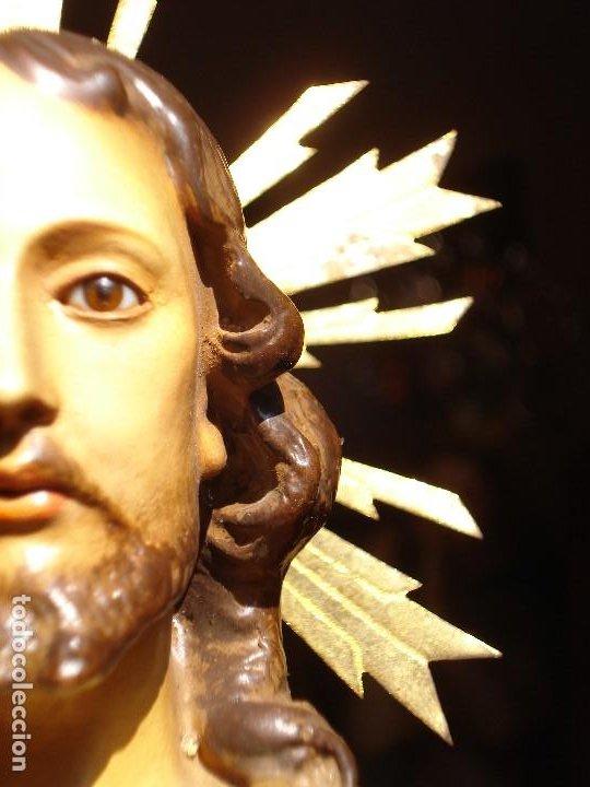 Arte: CRISTO REY EL ARTE CRISTIANO SAGRADO CORAZÓN DE JESUS PASTA DE MADERA - Foto 10 - 183377855