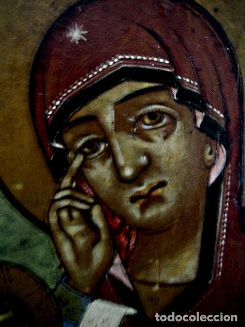 Arte: Icono de Ruso siglo 19. Significando: Madre de Dios, Curadora de Penas. - Foto 7 - 183675031