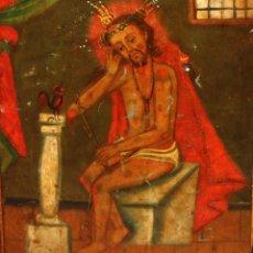 Arte: ESCUELA MEXICANA DEL AÑO 1835. OLEO SOBRE PLANCHA METALICA. CRISTO DE LA PACIENCIA. Lote 183679880