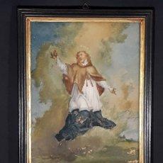Arte: SAN JUAN NEPOMUCENO. PINTURA BAJO CRISTAL. ITALIA. SIGLO XVIII.. Lote 183716488