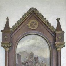Arte: ANTIGUO RETABLO, DE LA ESCUELA DE OLOT, EN YESO, PARA RESTAURACIÓN, VIA CRUCIS, ES LA IX ESTACION.. Lote 183733950
