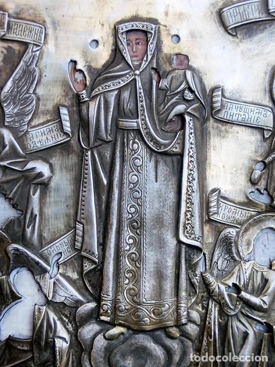 ANTIGUO ICONO - ARTE RELIGIOSO - ORIGEN RUSO - MADERA POLICROMADA - CAMISA METAL PLATEADO – RARO (Arte - Arte Religioso - Iconos)