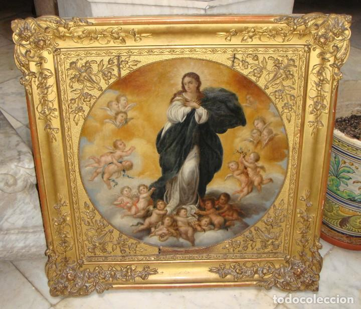 MAGNÍFICO TOGO. ÓLEO SOBRE TABLA. S.XVIII. INMACULADA. PRECIOSO MARCO DORADO. (Arte - Arte Religioso - Pintura Religiosa - Oleo)