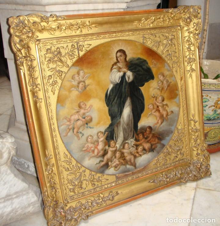 Arte: Magnífico Togo. Óleo sobre tabla. S.XVIII. Inmaculada. Precioso marco dorado. - Foto 2 - 183796076