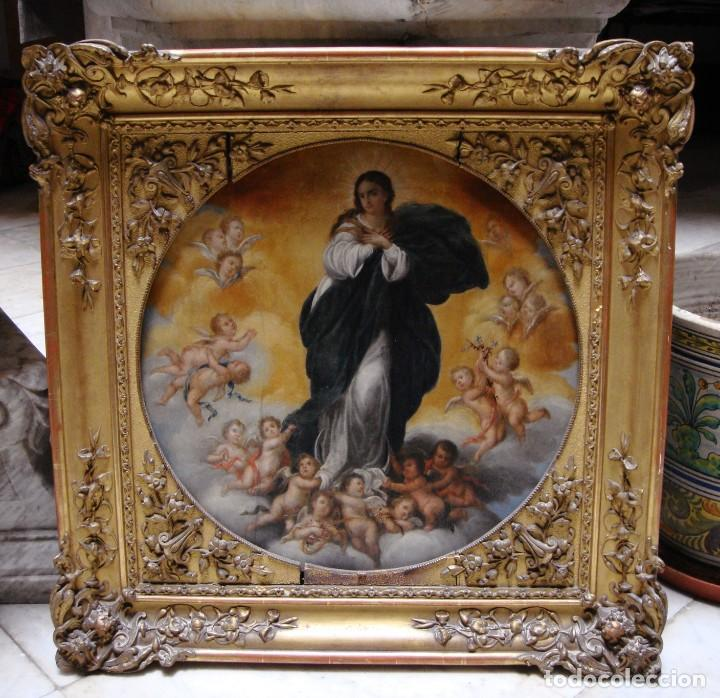Arte: Magnífico Togo. Óleo sobre tabla. S.XVIII. Inmaculada. Precioso marco dorado. - Foto 5 - 183796076
