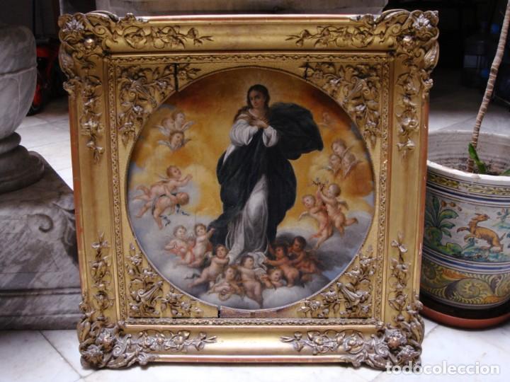 Arte: Magnífico Togo. Óleo sobre tabla. S.XVIII. Inmaculada. Precioso marco dorado. - Foto 6 - 183796076