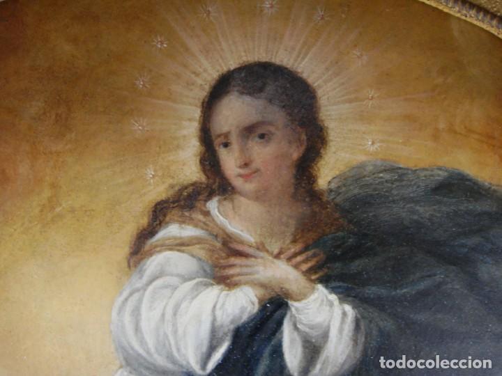 Arte: Magnífico Togo. Óleo sobre tabla. S.XVIII. Inmaculada. Precioso marco dorado. - Foto 7 - 183796076