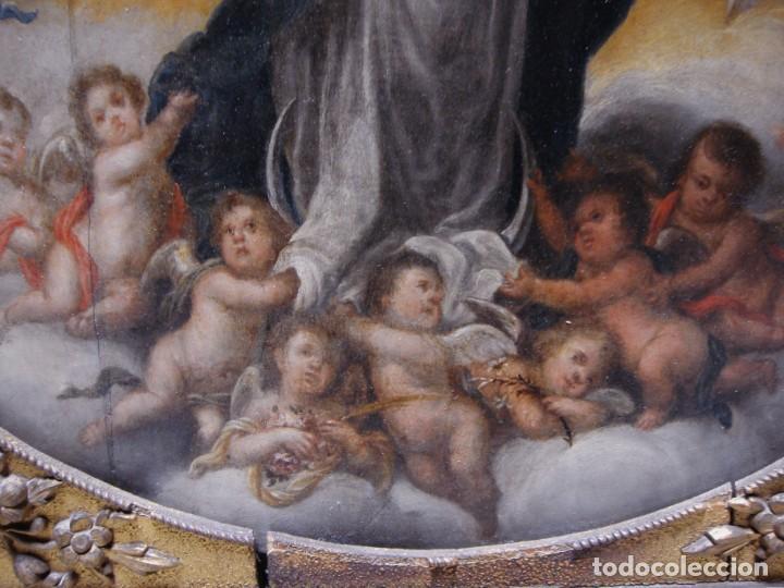 Arte: Magnífico Togo. Óleo sobre tabla. S.XVIII. Inmaculada. Precioso marco dorado. - Foto 9 - 183796076