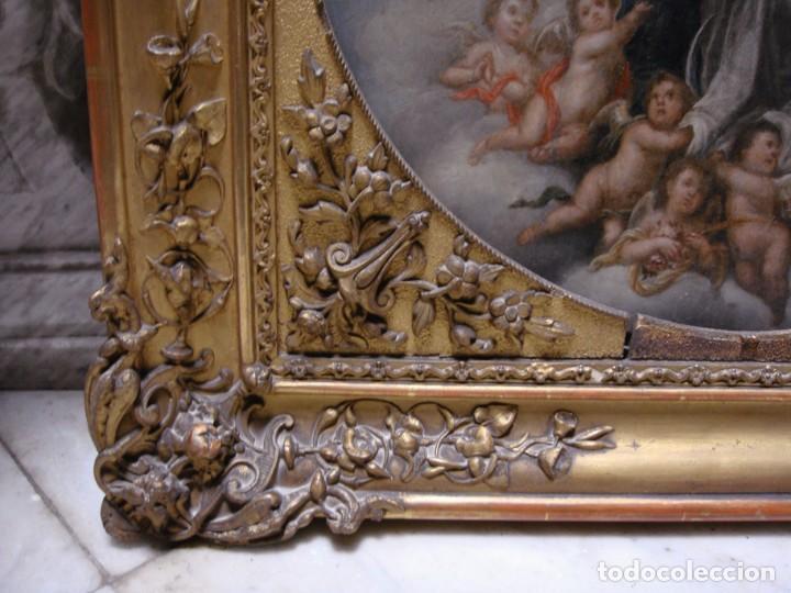 Arte: Magnífico Togo. Óleo sobre tabla. S.XVIII. Inmaculada. Precioso marco dorado. - Foto 11 - 183796076