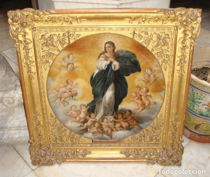 Arte: Magnífico Togo. Óleo sobre tabla. S.XVIII. Inmaculada. Precioso marco dorado. - Foto 12 - 183796076