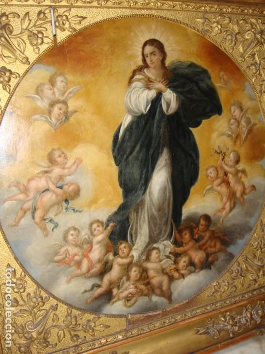 Arte: Magnífico Togo. Óleo sobre tabla. S.XVIII. Inmaculada. Precioso marco dorado. - Foto 16 - 183796076