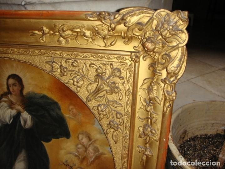 Arte: Magnífico Togo. Óleo sobre tabla. S.XVIII. Inmaculada. Precioso marco dorado. - Foto 18 - 183796076