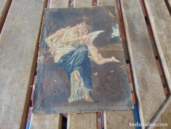 PEQUEÑA PINTURA OLEO SOBRE LIENZO VIRGEN CON ANGEL NIÑO FIRMADO RESTAURAR (Arte - Arte Religioso - Pintura Religiosa - Oleo)